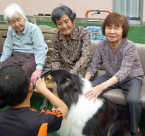 利用者様が小学生と来苑した犬と交流しています。